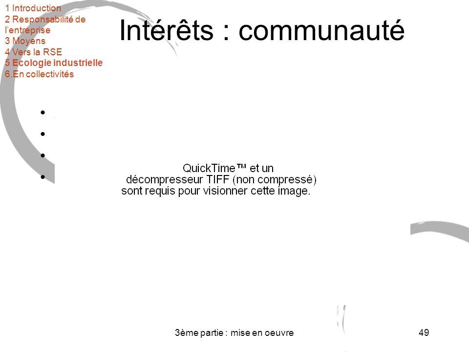 3ème partie : mise en oeuvre49 Intérêts : communauté Amélioration de la qualité de vie Meilleure cohésion sociale Meilleur accès à lemploi (insertion) Mise en œuvre opérationnelle du développement durable 1 Introduction 2 Responsabilité de lentreprise 3 Moyens 4 Vers la RSE 5 Ecologie industrielle 6.En collectivités