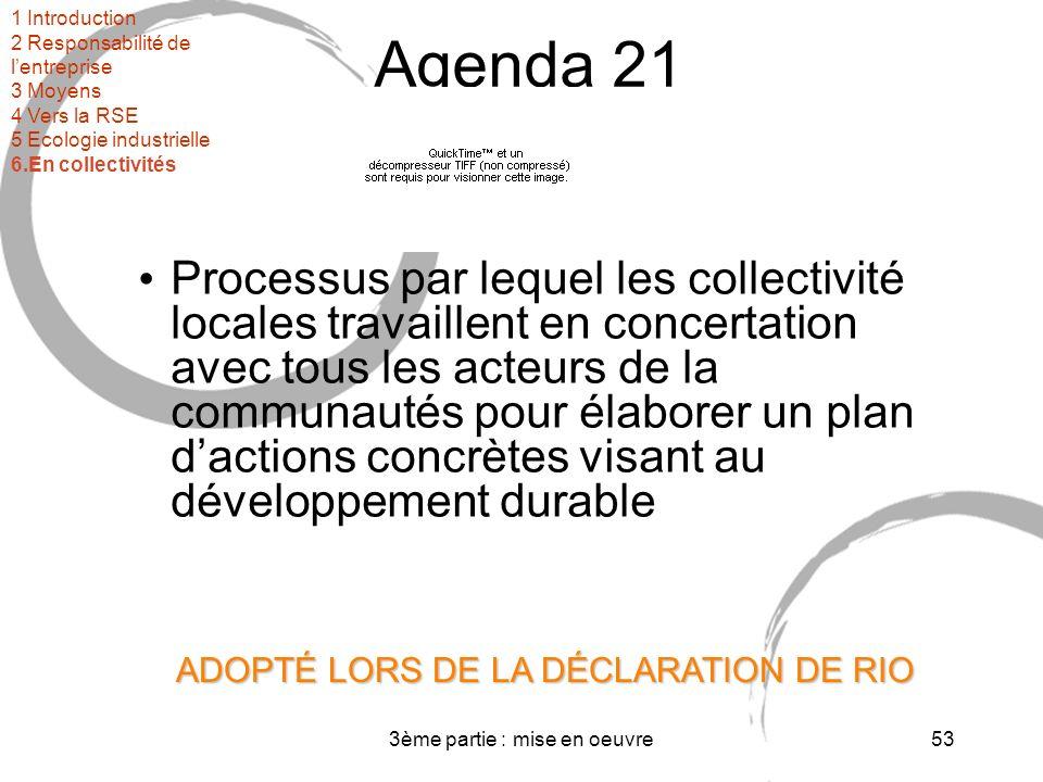 3ème partie : mise en oeuvre53 Agenda 21 Processus par lequel les collectivité locales travaillent en concertation avec tous les acteurs de la communautés pour élaborer un plan dactions concrètes visant au développement durable ADOPTÉ LORS DE LA DÉCLARATION DE RIO 1 Introduction 2 Responsabilité de lentreprise 3 Moyens 4 Vers la RSE 5 Ecologie industrielle 6.En collectivités