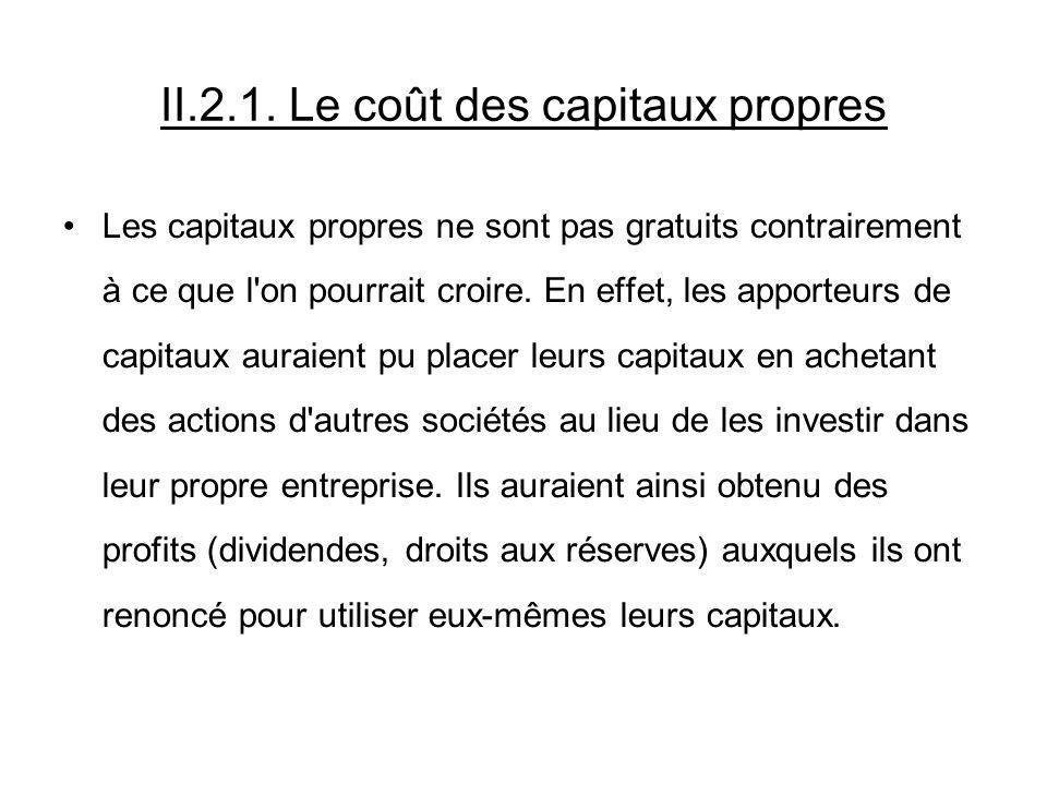 II.2.1. Le coût des capitaux propres Les capitaux propres ne sont pas gratuits contrairement à ce que l'on pourrait croire. En effet, les apporteurs d