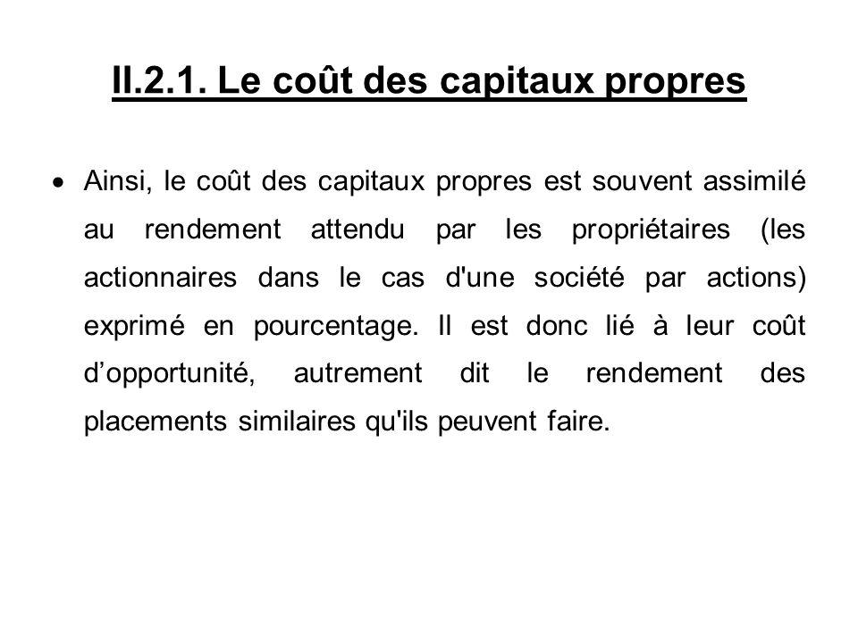 II.2.1. Le coût des capitaux propres Ainsi, le coût des capitaux propres est souvent assimilé au rendement attendu par les propriétaires (les actionna