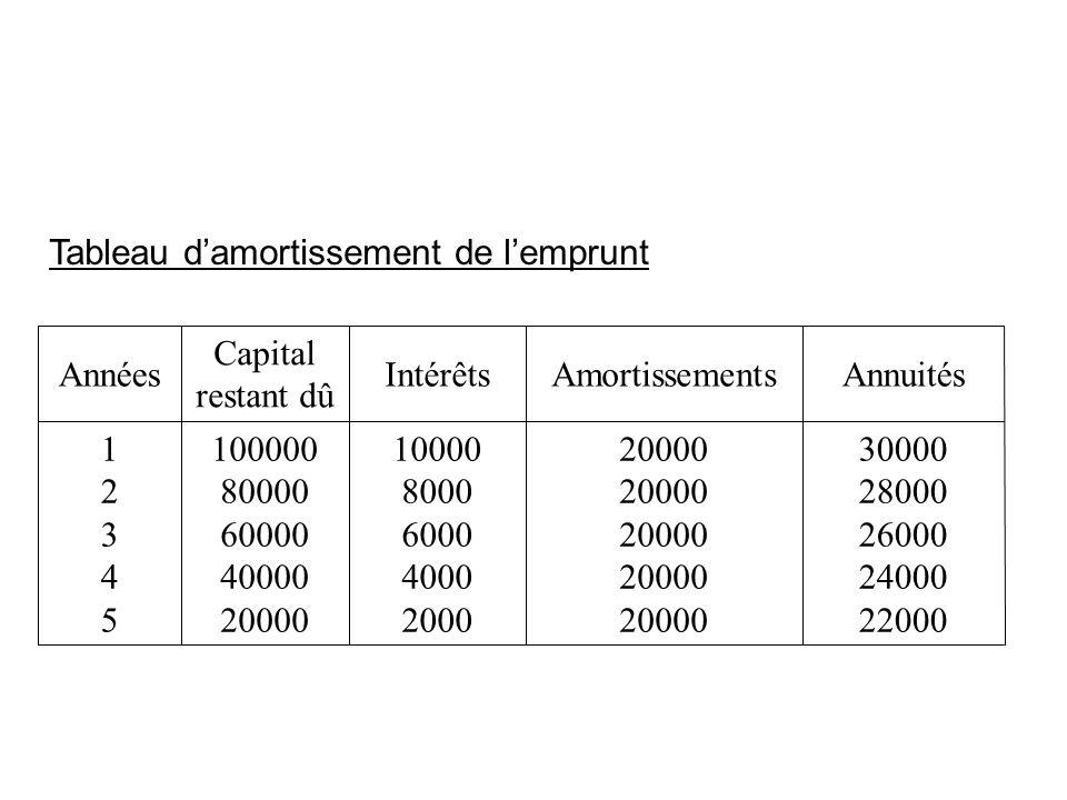 Tableau damortissement de lemprunt 30000 28000 26000 24000 22000 20000 10000 8000 6000 4000 2000 100000 80000 60000 40000 20000 1234512345 AnnuitésAmo