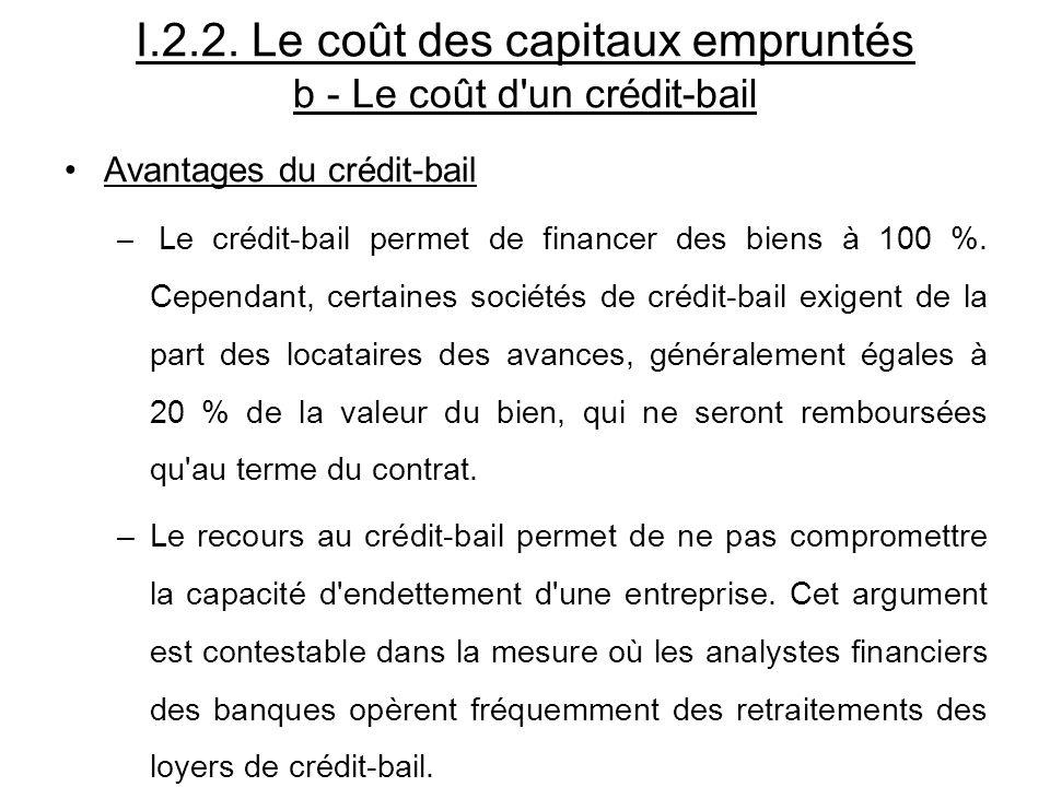I.2.2. Le coût des capitaux empruntés b - Le coût d'un crédit-bail Avantages du crédit-bail – Le crédit-bail permet de financer des biens à 100 %. Cep