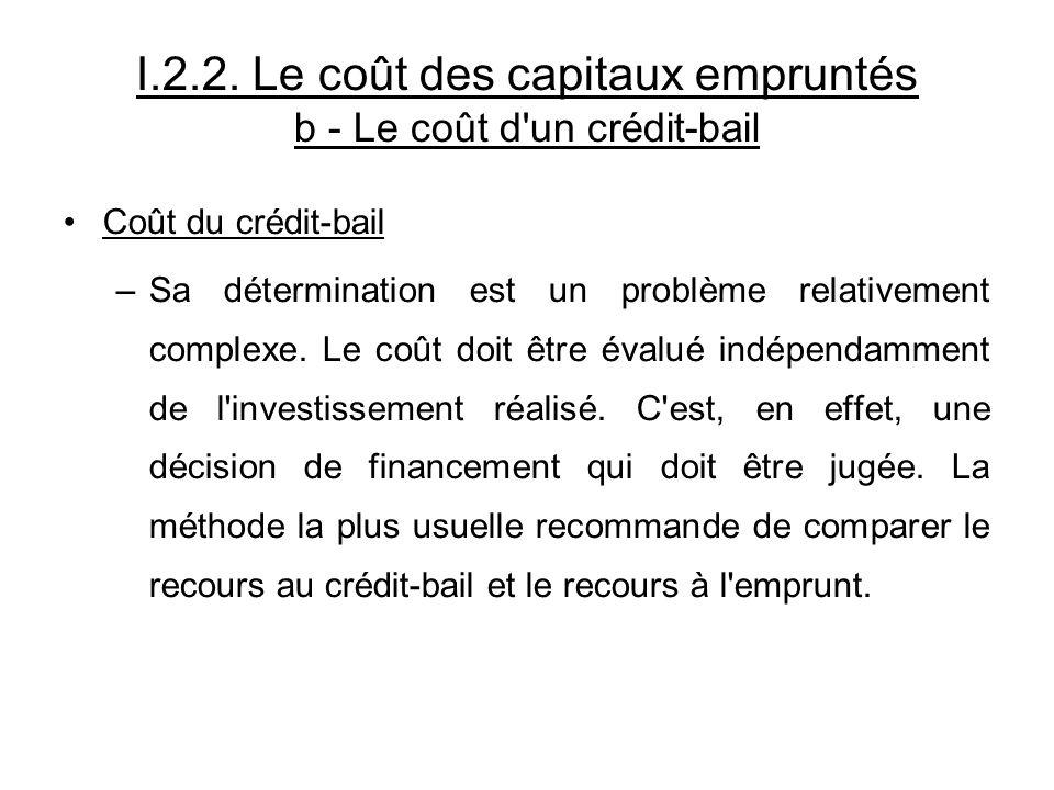Coût du crédit-bail –Sa détermination est un problème relativement complexe. Le coût doit être évalué indépendamment de l'investissement réalisé. C'es