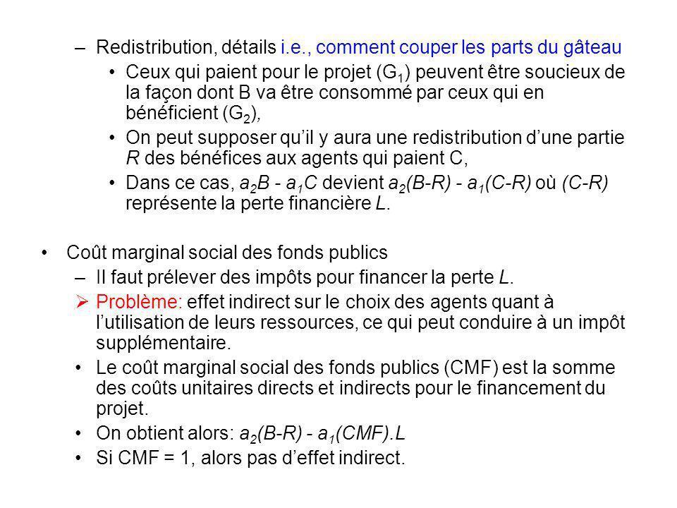 –Redistribution, détails i.e., comment couper les parts du gâteau Ceux qui paient pour le projet (G 1 ) peuvent être soucieux de la façon dont B va êt