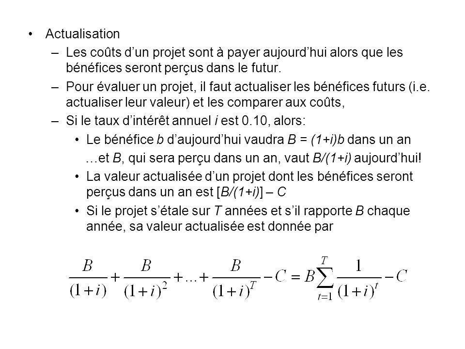 Actualisation –Les coûts dun projet sont à payer aujourdhui alors que les bénéfices seront perçus dans le futur. –Pour évaluer un projet, il faut actu