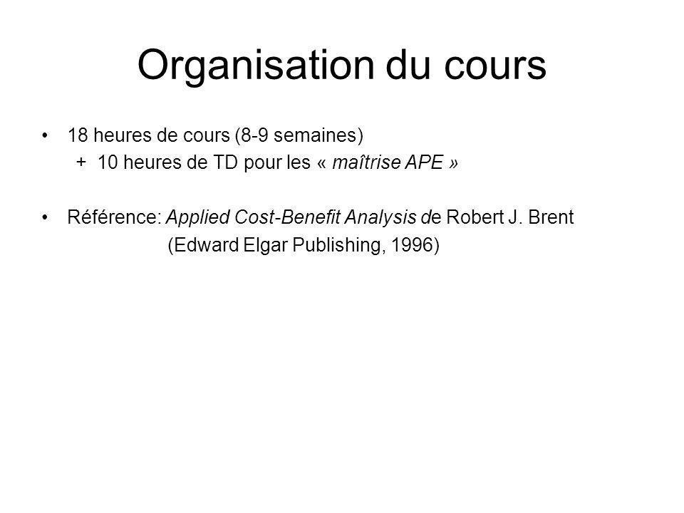 Organisation du cours 18 heures de cours (8-9 semaines) +10 heures de TD pour les « maîtrise APE » Référence: Applied Cost-Benefit Analysis de Robert