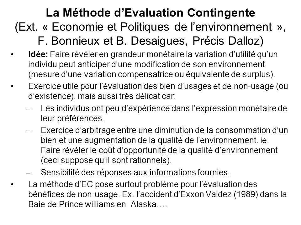 La Méthode dEvaluation Contingente (Ext. « Economie et Politiques de lenvironnement », F. Bonnieux et B. Desaigues, Précis Dalloz) Idée: Faire révéler