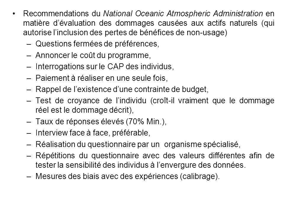 Recommendations du National Oceanic Atmospheric Administration en matière dévaluation des dommages causées aux actifs naturels (qui autorise linclusio