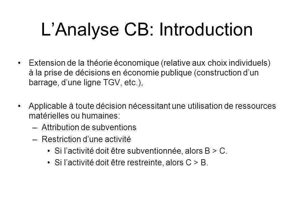 LAnalyse CB: Introduction Extension de la théorie économique (relative aux choix individuels) à la prise de décisions en économie publique (constructi
