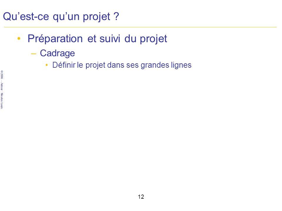 © 2006 – Auteur : Nicolas Louis 12 Quest-ce quun projet .