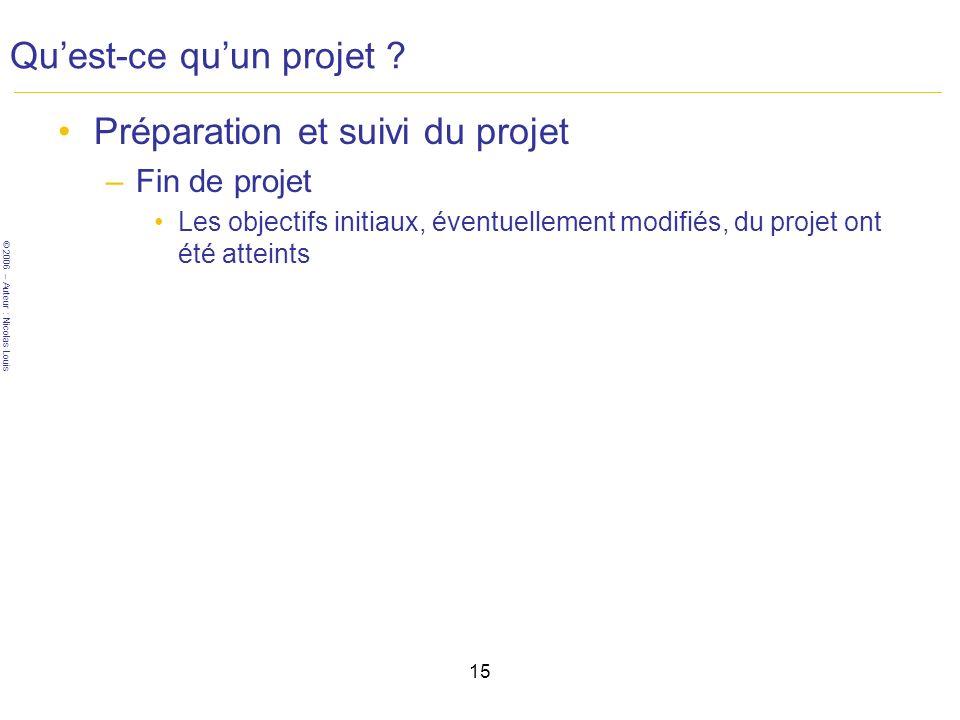 © 2006 – Auteur : Nicolas Louis 15 Quest-ce quun projet .