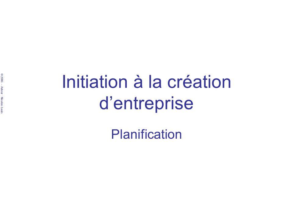 © 2006 – Auteur : Nicolas Louis Initiation à la création dentreprise Planification