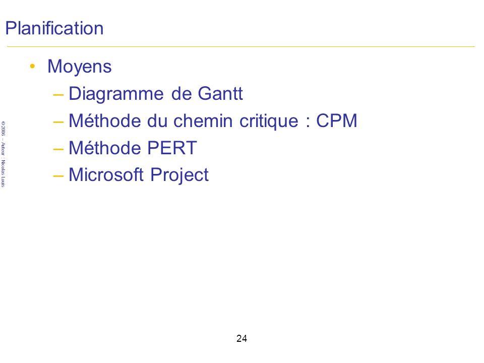 © 2006 – Auteur : Nicolas Louis 24 Planification Moyens –Diagramme de Gantt –Méthode du chemin critique : CPM –Méthode PERT –Microsoft Project