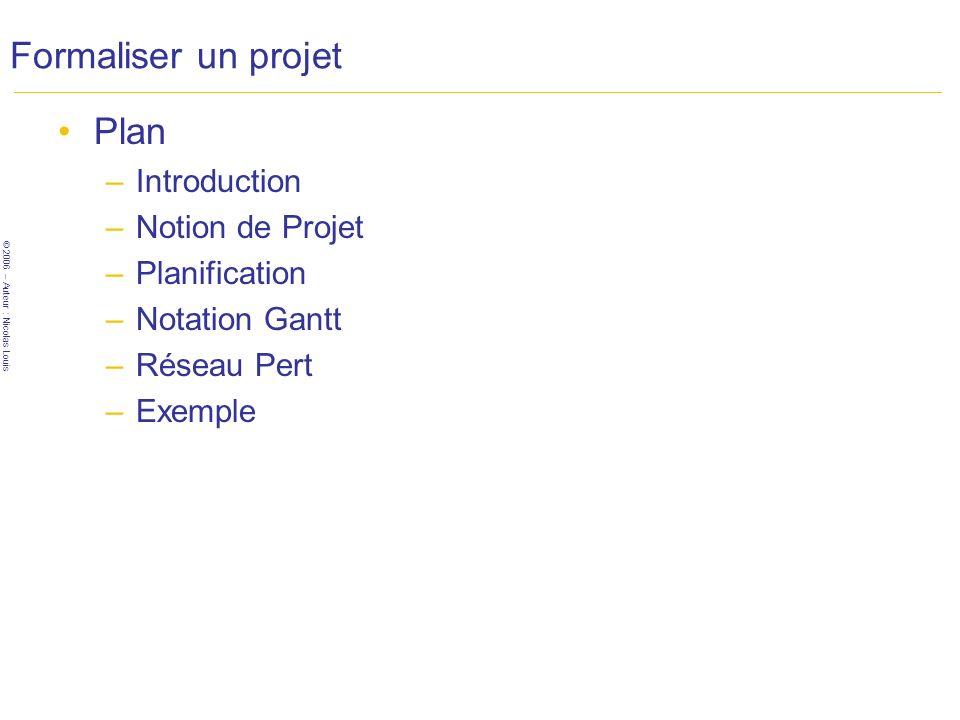 © 2006 – Auteur : Nicolas Louis Formaliser un projet Plan –Introduction –Notion de Projet –Planification –Notation Gantt –Réseau Pert –Exemple