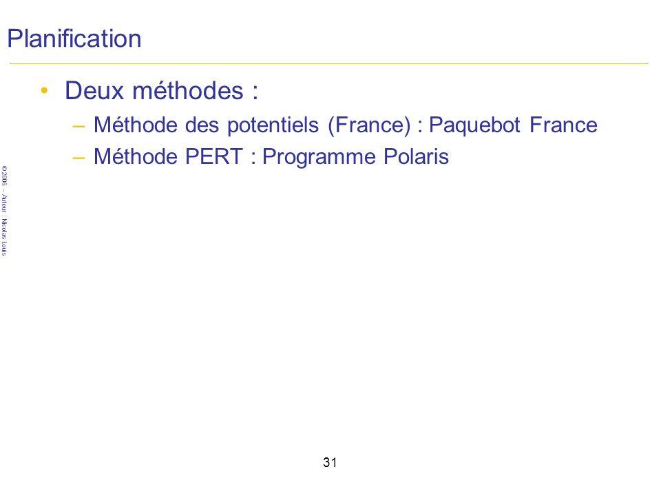 © 2006 – Auteur : Nicolas Louis 31 Planification Deux méthodes : –Méthode des potentiels (France) : Paquebot France –Méthode PERT : Programme Polaris