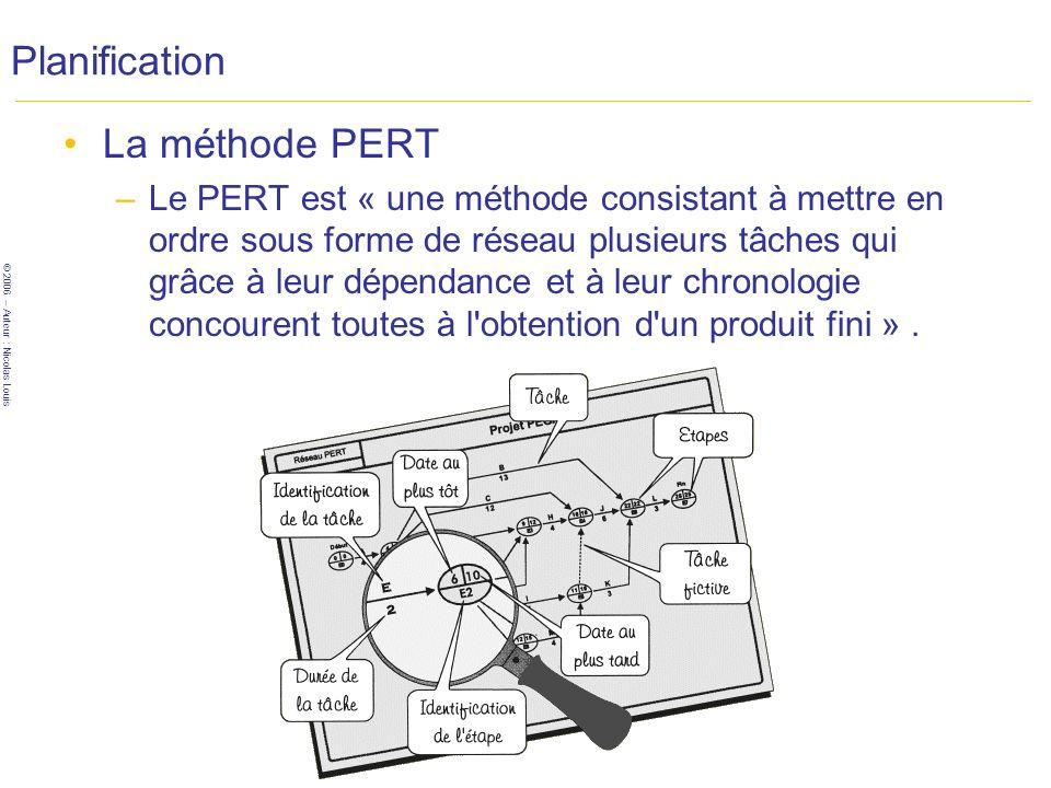 © 2006 – Auteur : Nicolas Louis 34 Planification La méthode PERT –Le PERT est « une méthode consistant à mettre en ordre sous forme de réseau plusieurs tâches qui grâce à leur dépendance et à leur chronologie concourent toutes à l obtention d un produit fini ».