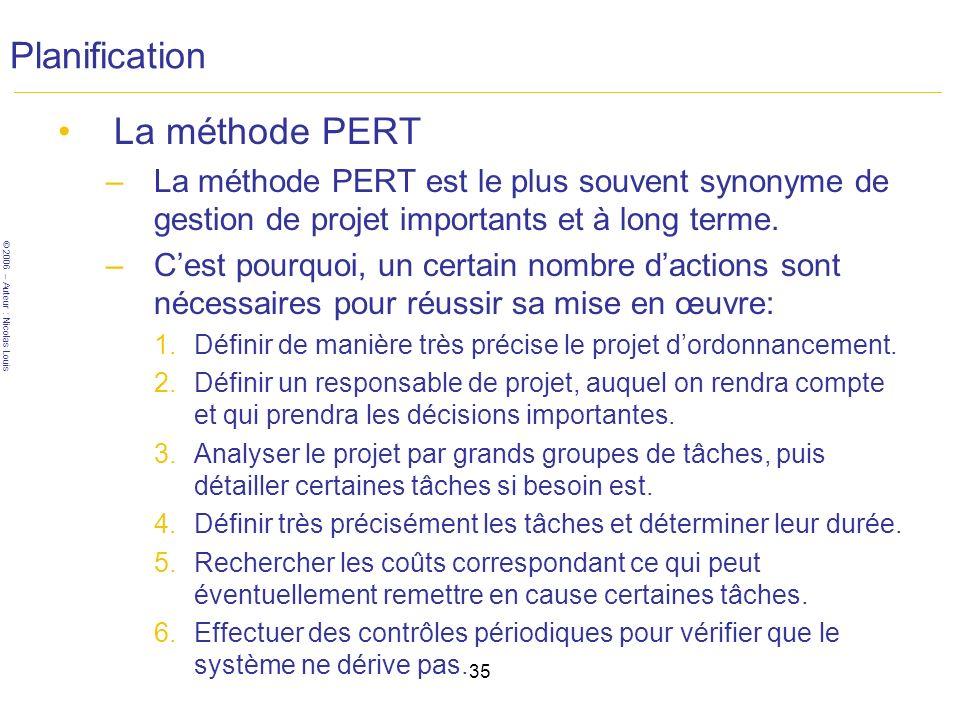 © 2006 – Auteur : Nicolas Louis 35 Planification La méthode PERT –La méthode PERT est le plus souvent synonyme de gestion de projet importants et à long terme.