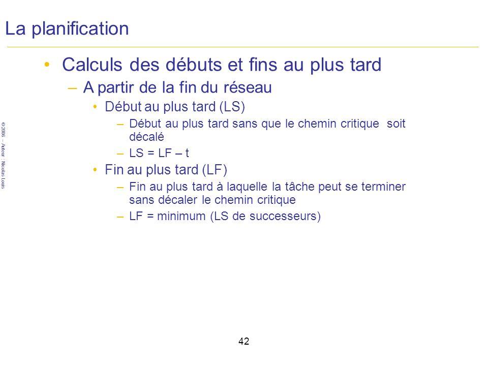 © 2006 – Auteur : Nicolas Louis 42 La planification Calculs des débuts et fins au plus tard –A partir de la fin du réseau Début au plus tard (LS) –Début au plus tard sans que le chemin critique soit décalé –LS = LF – t Fin au plus tard (LF) –Fin au plus tard à laquelle la tâche peut se terminer sans décaler le chemin critique –LF = minimum (LS de successeurs)