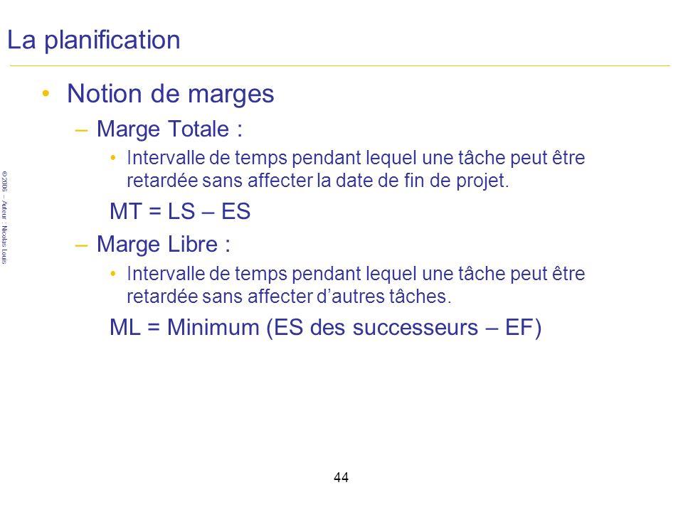 © 2006 – Auteur : Nicolas Louis 44 La planification Notion de marges –Marge Totale : Intervalle de temps pendant lequel une tâche peut être retardée sans affecter la date de fin de projet.