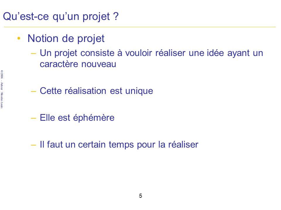 © 2006 – Auteur : Nicolas Louis 5 Quest-ce quun projet .