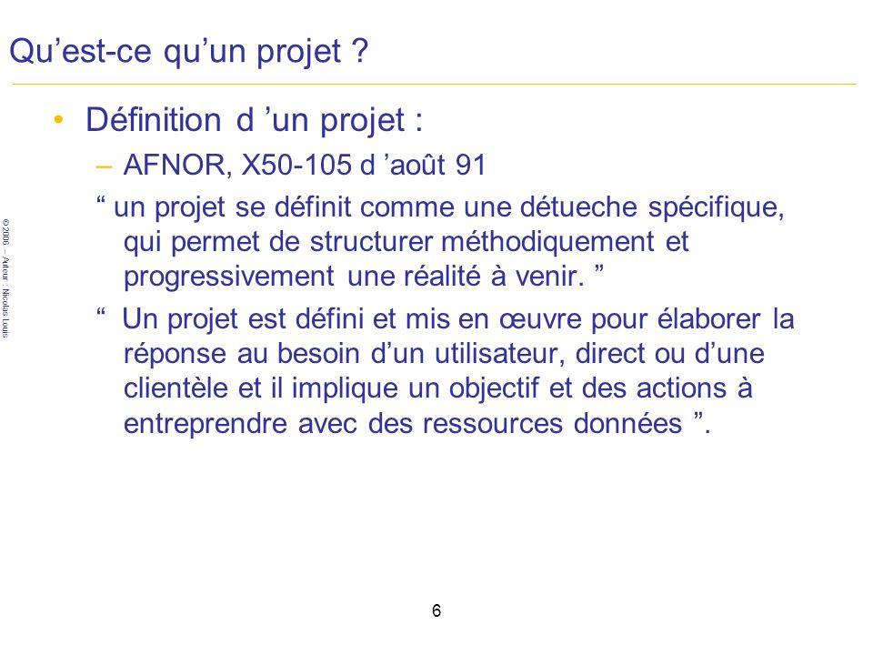 © 2006 – Auteur : Nicolas Louis 6 Définition d un projet : –AFNOR, X50-105 d août 91 un projet se définit comme une détueche spécifique, qui permet de structurer méthodiquement et progressivement une réalité à venir.