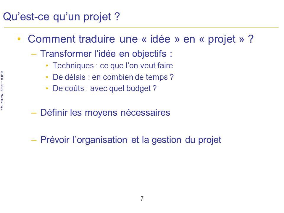© 2006 – Auteur : Nicolas Louis 7 Quest-ce quun projet .