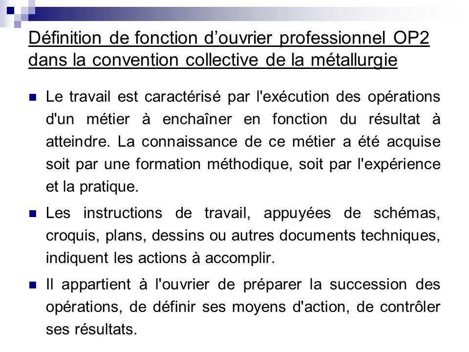 Définition de fonction douvrier professionnel OP2 dans la convention collective de la métallurgie Le travail est caractérisé par l'exécution des opéra