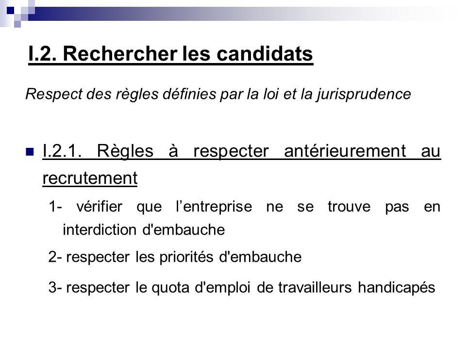 I.2. Rechercher les candidats Respect des règles définies par la loi et la jurisprudence I.2.1. Règles à respecter antérieurement au recrutement 1- vé