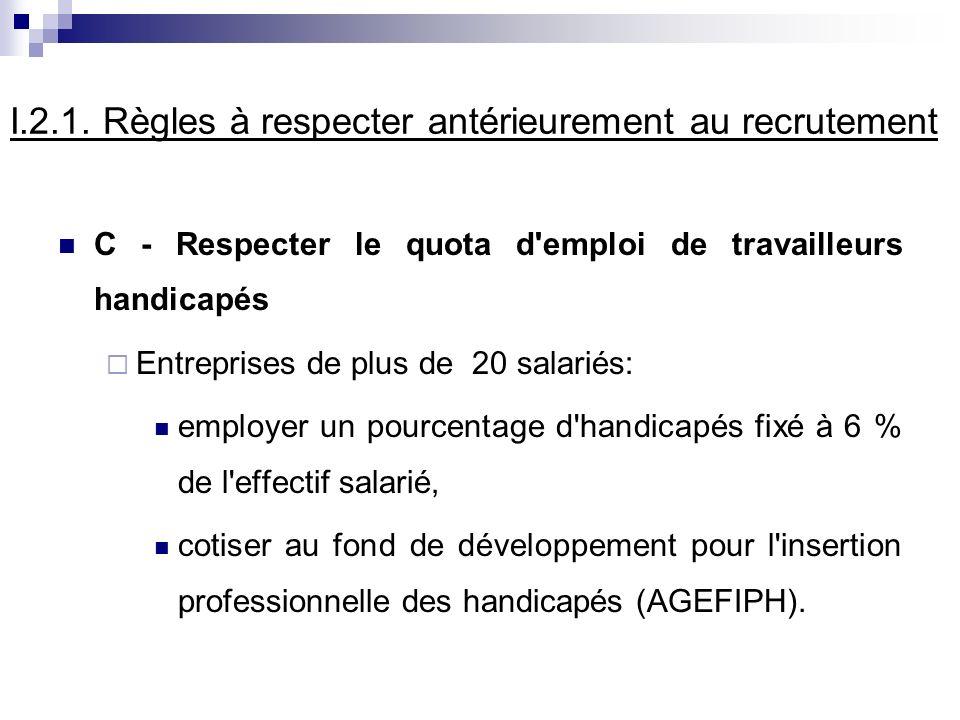 I.2.1. Règles à respecter antérieurement au recrutement C - Respecter le quota d'emploi de travailleurs handicapés Entreprises de plus de 20 salariés: