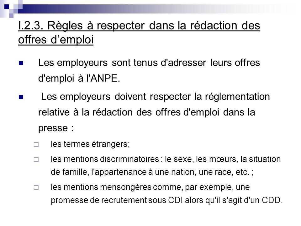 I.2.3. Règles à respecter dans la rédaction des offres demploi Les employeurs sont tenus d'adresser leurs offres d'emploi à l'ANPE. Les employeurs doi