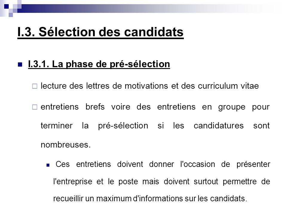 I.3. Sélection des candidats I.3.1. La phase de pré-sélection lecture des lettres de motivations et des curriculum vitae entretiens brefs voire des en