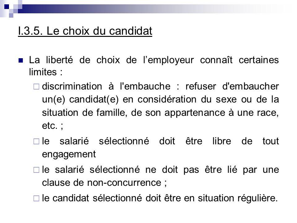 I.3.5. Le choix du candidat La liberté de choix de lemployeur connaît certaines limites : discrimination à l'embauche : refuser d'embaucher un(e) cand