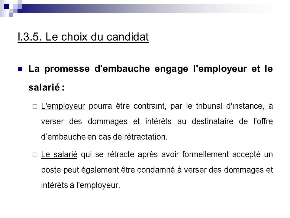 I.3.5. Le choix du candidat La promesse d'embauche engage l'employeur et le salarié : L'employeur pourra être contraint, par le tribunal d'instance, à
