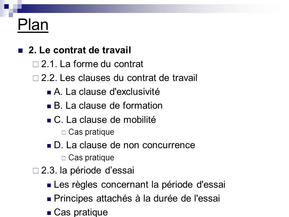 Plan 2. Le contrat de travail 2.1. La forme du contrat 2.2. Les clauses du contrat de travail A. La clause d'exclusivité B. La clause de formation C.