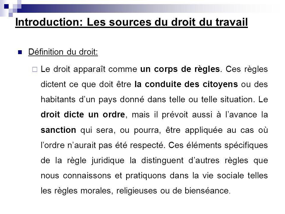 Introduction: Les sources du droit du travail Définition du droit: Le droit apparaît comme un corps de règles. Ces règles dictent ce que doit être la