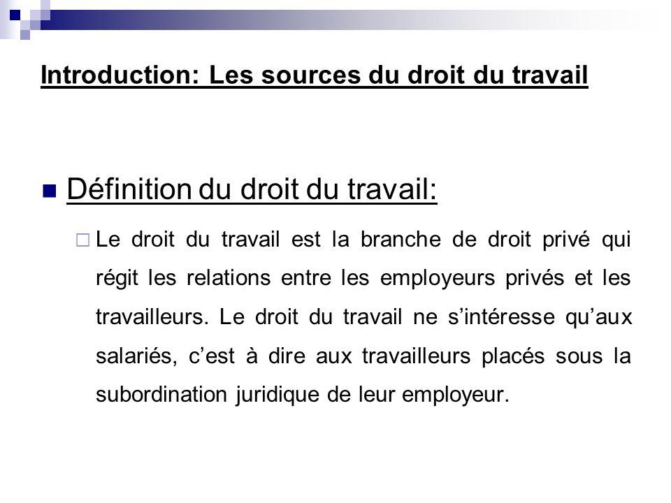 Définition du droit du travail: Le droit du travail est la branche de droit privé qui régit les relations entre les employeurs privés et les travaille