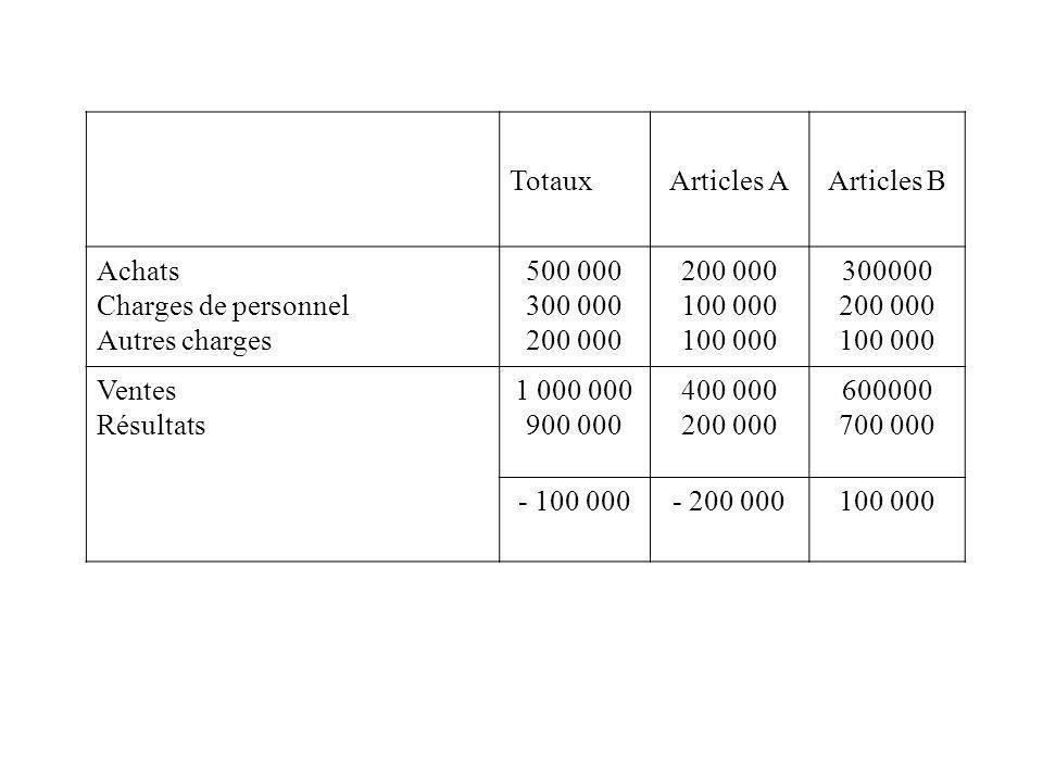 TotauxArticles AArticles B Achats Charges de personnel Autres charges 500 000 300 000 200 000 100 000 300000 200 000 100 000 Ventes Résultats 1 000 00