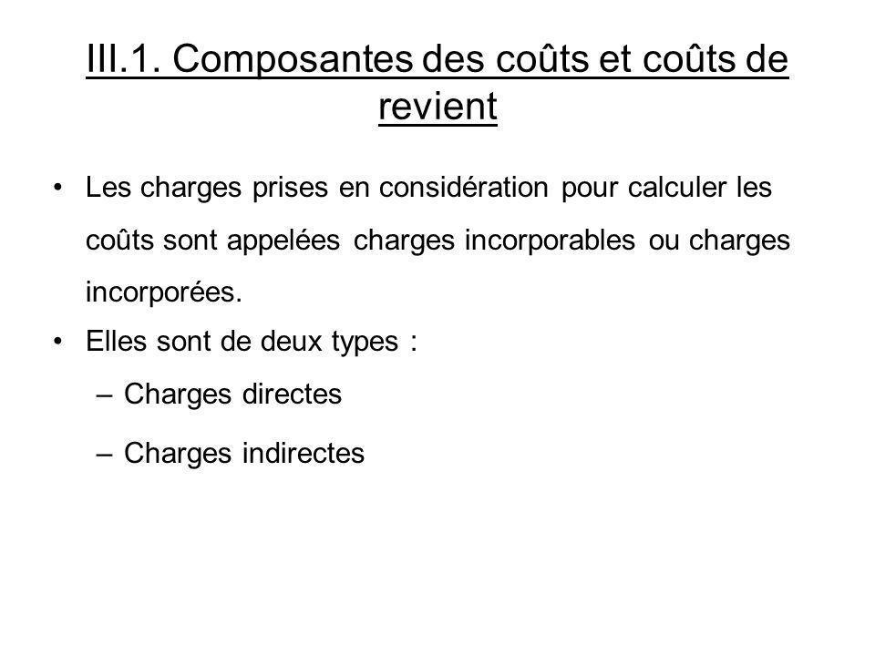 III.1. Composantes des coûts et coûts de revient Les charges prises en considération pour calculer les coûts sont appelées charges incorporables ou ch