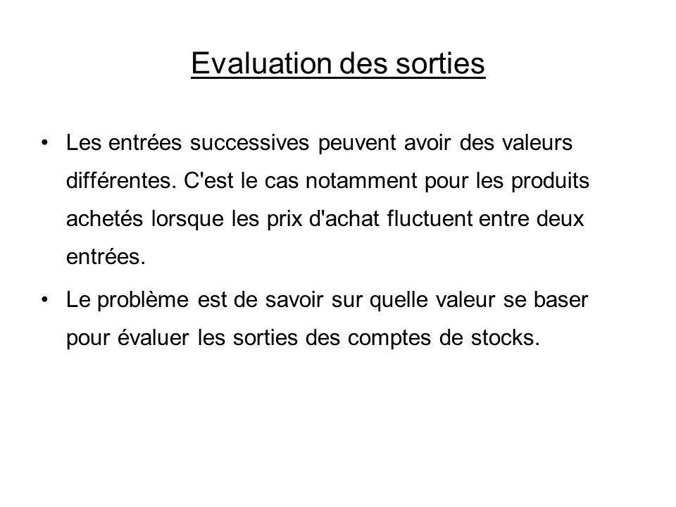 Evaluation des sorties Les entrées successives peuvent avoir des valeurs différentes. C'est le cas notamment pour les produits achetés lorsque les pri