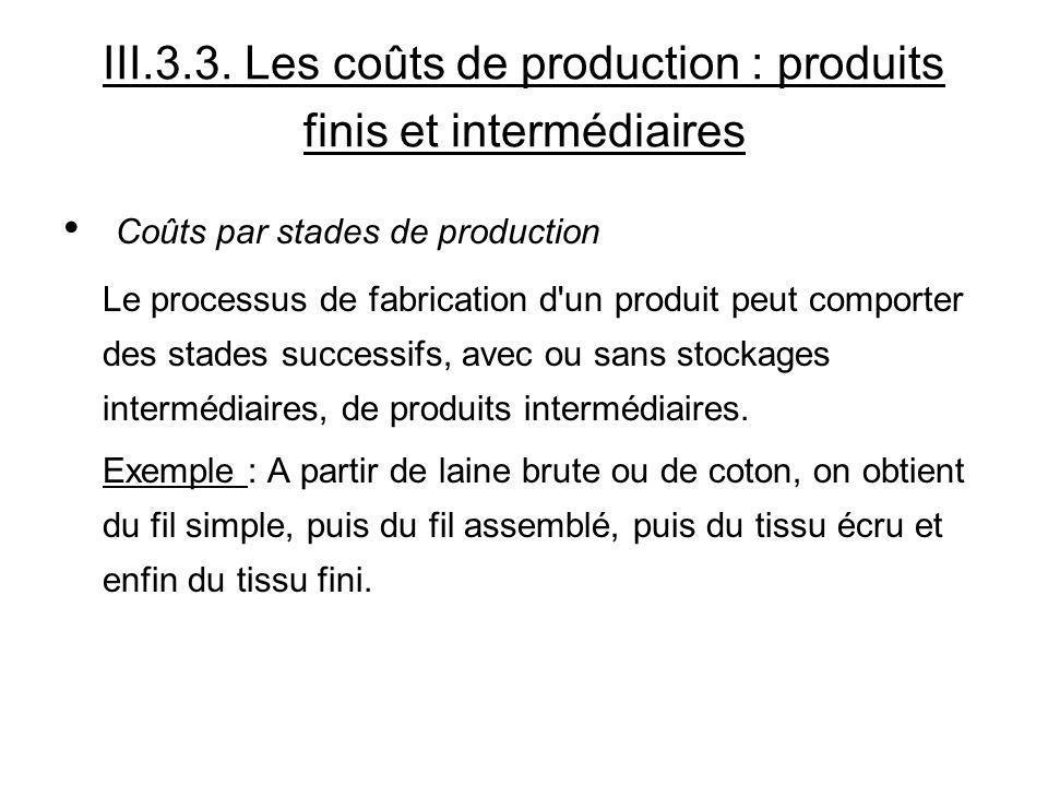 III.3.3. Les coûts de production : produits finis et intermédiaires Coûts par stades de production Le processus de fabrication d'un produit peut compo