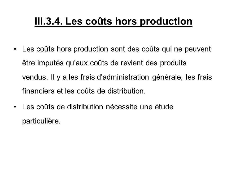 III.3.4. Les coûts hors production Les coûts hors production sont des coûts qui ne peuvent être imputés qu'aux coûts de revient des produits vendus. I