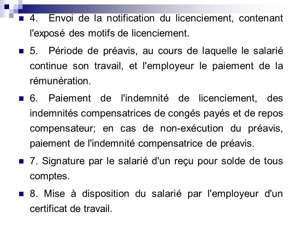 4.Envoi de la notification du licenciement, contenant l'exposé des motifs de licenciement. 5.Période de préavis, au cours de laquelle le salarié conti