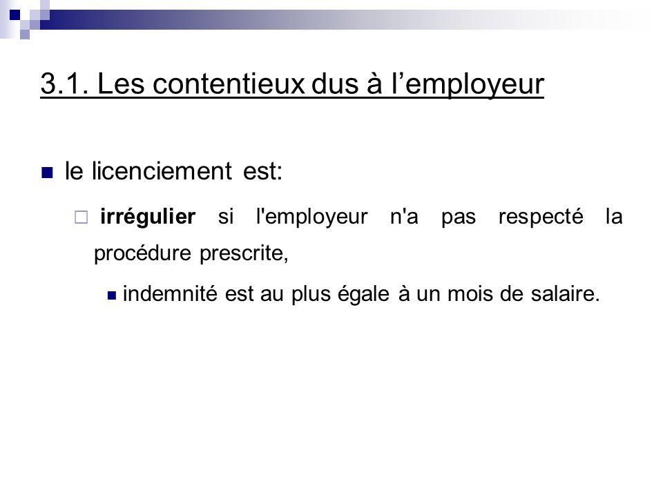 3.1. Les contentieux dus à lemployeur le licenciement est: irrégulier si l'employeur n'a pas respecté la procédure prescrite, indemnité est au plus ég