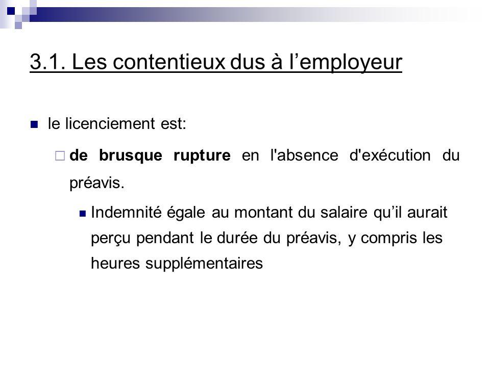 3.1. Les contentieux dus à lemployeur le licenciement est: de brusque rupture en l'absence d'exécution du préavis. Indemnité égale au montant du salai