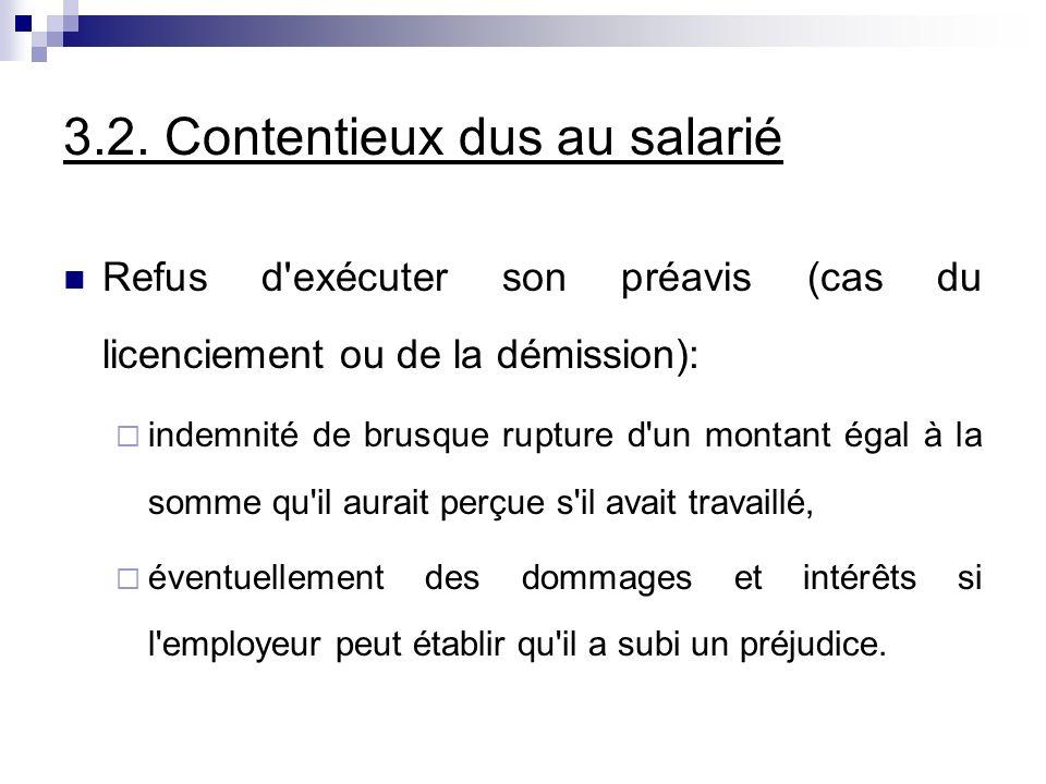 3.2. Contentieux dus au salarié Refus d'exécuter son préavis (cas du licenciement ou de la démission): indemnité de brusque rupture d'un montant égal