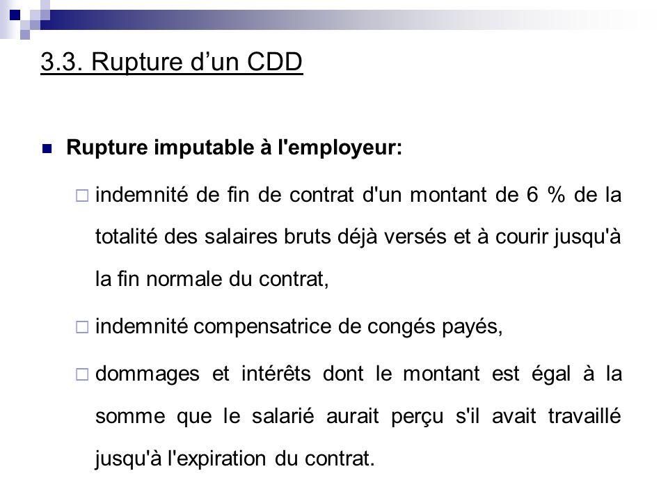 3.3. Rupture dun CDD Rupture imputable à l'employeur: indemnité de fin de contrat d'un montant de 6 % de la totalité des salaires bruts déjà versés et