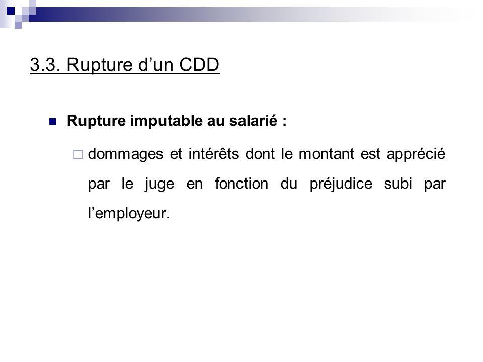 3.3. Rupture dun CDD Rupture imputable au salarié : dommages et intérêts dont le montant est apprécié par le juge en fonction du préjudice subi par le