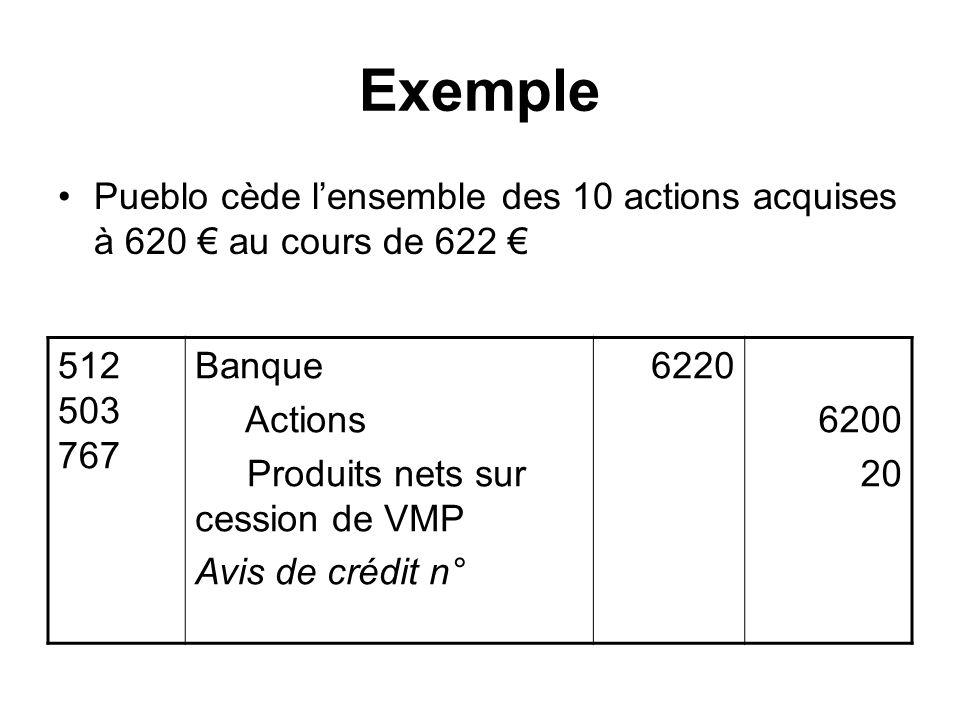 Exemple Pueblo cède lensemble des 10 actions acquises à 620 au cours de 622 512 503 767 Banque Actions Produits nets sur cession de VMP Avis de crédit n° 6220 6200 20