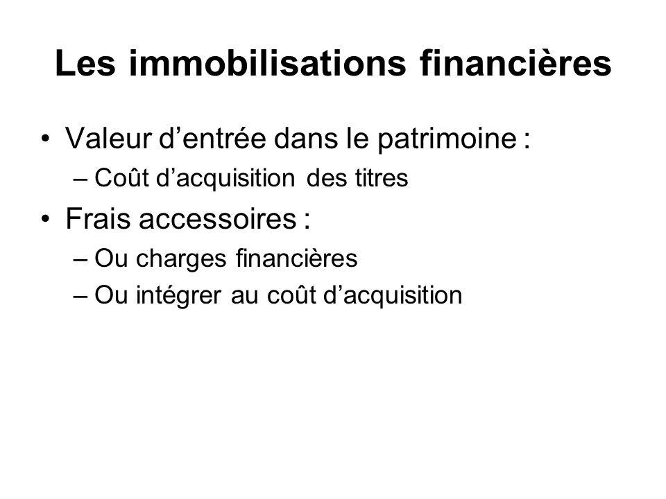 Les immobilisations financières Valeur dentrée dans le patrimoine : –Coût dacquisition des titres Frais accessoires : –Ou charges financières –Ou intégrer au coût dacquisition