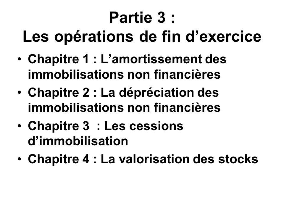 Partie 3 : Les opérations de fin dexercice Chapitre 1 : Lamortissement des immobilisations non financières Chapitre 2 : La dépréciation des immobilisations non financières Chapitre 3 : Les cessions dimmobilisation Chapitre 4 : La valorisation des stocks